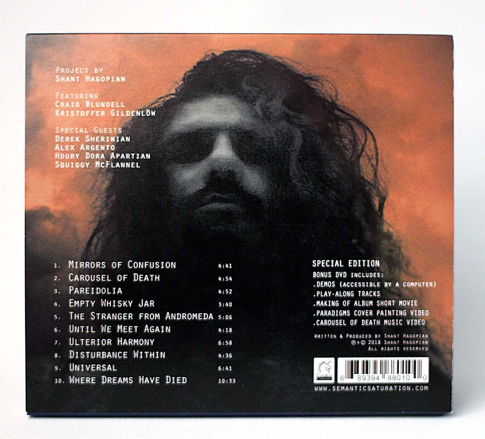 Paradigms CD 6 panel Digipak back panel and tracklist